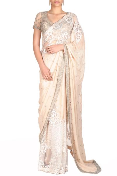 Sarees, Sarees, Clothing, Carma, Ivory embroidered saree with embellished blouse ,  ,