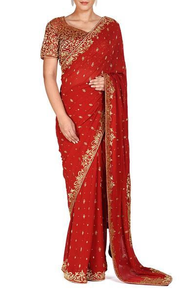Sarees, Sarees, Clothing, Carma, Red saree with matching blouse ,  ,  ,