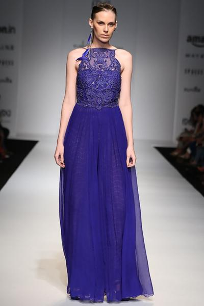 Gowns, Clothing, Carma, Blue Gown With Lace Trousers ,  ,