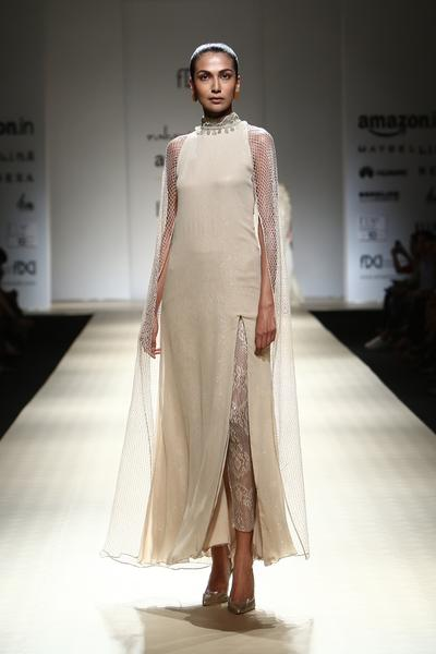 Dresses, Clothing, Carma, Sand Mesh Cape Dress With Lace Trousers ,  ,