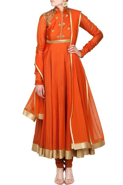 Suits, Clothing, Carma, Orange cutwork and cutdana embroidered anarkali set ,  ,