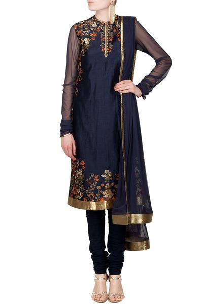 Suits, Clothing, Carma, Midnight blue sequin highlighted floral digital print kurta set ,  ,