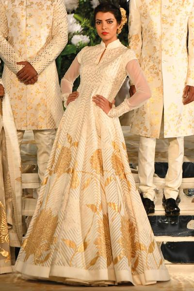 Suits, Clothing, Carma, Ivory embroidered anarkali ,  ,  ,