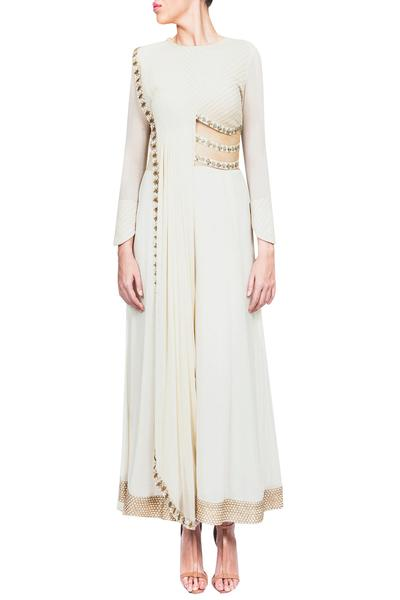 Jumpsuits, Clothing, Carma, Off white embroidered draped cut out jumpsuit ,