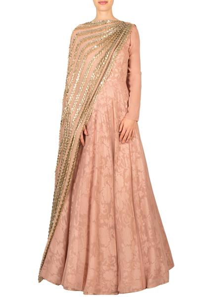 Gowns, Clothing, Carma, Blush pink embroidered gown with attached dupatta ,  ,