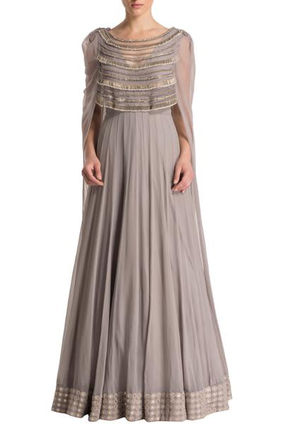 Gowns, Clothing, Carma, Grey tube tassel layered cape anarkali ,  ,