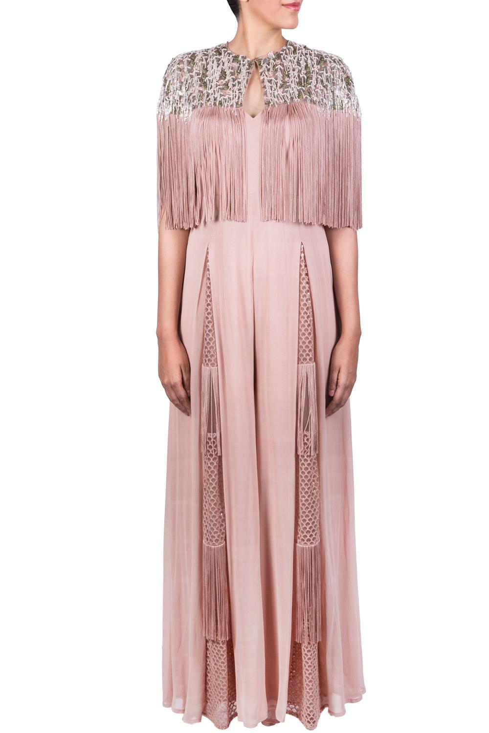 083a8eafd82 Blush pink fringe jumpsuit with cape by Ridhima Bhasin
