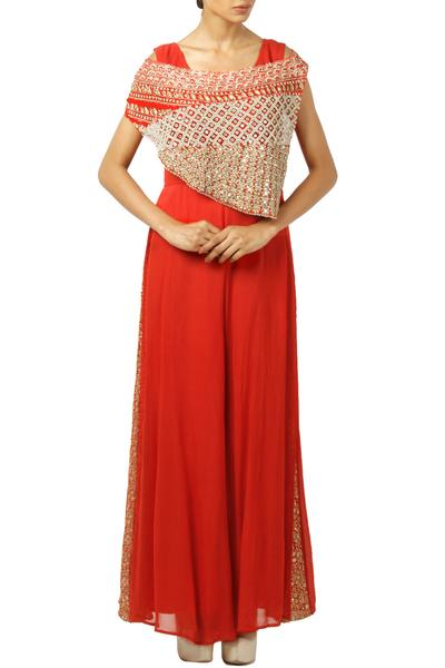 Jumpsuits, Clothing, Carma, Red jumpsuit with embroidered cape ,  ,
