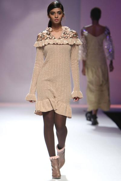 Dresses, Clothing, Carma, Gold wool knit dress with floral embellishments ,