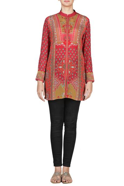 Tops & Tunics, Clothing, Carma, Red and olive printed tunic ,  ,