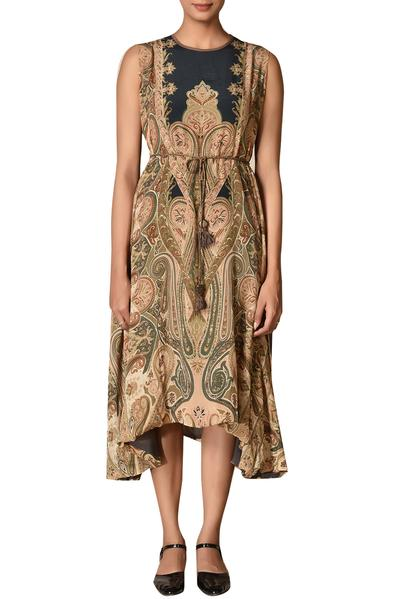Dresses, Clothing, Carma, Black and beige printed dress ,  ,