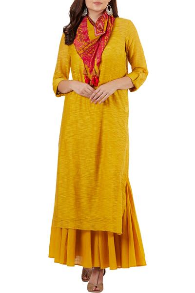 Suits, Clothing, Carma, Yellow kurta set with printed scarf ,  ,