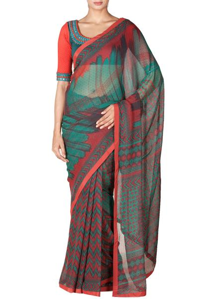 Sarees, Sarees, Clothing, Carma, Emerald printed saree with blouse ,  ,