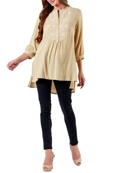 Kurtas and Sets, Clothing, Carma, Beige Detailed Yoke Tunic ,  ,