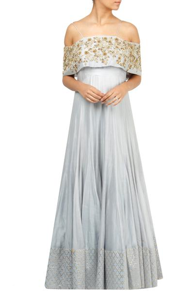 Gowns, Clothing, Carma, Powder blue embroidered gown ,  ,