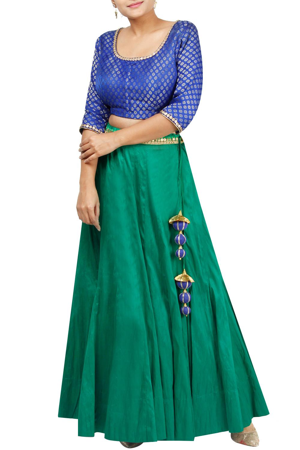 Lehengas Clothing Carma Emerald Green And Blue Lehenga Crop Top