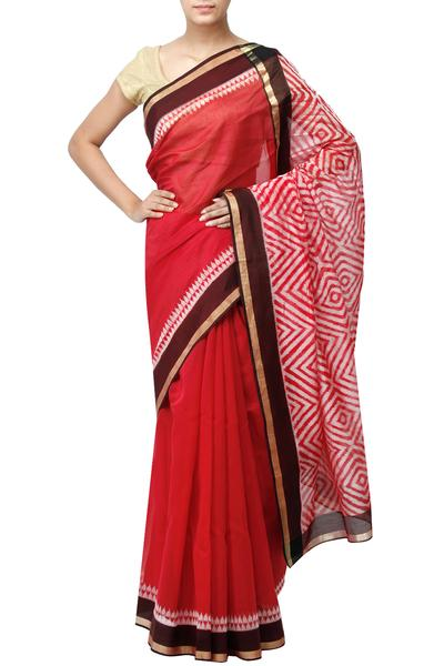 Sarees, Sarees, Clothing, Carma, Red Maze Pattern Saree ,  ,  ,