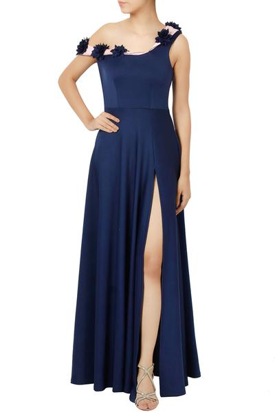 Gowns, Clothing, Carma, Navy Off Shoulder Gown ,  ,  ,