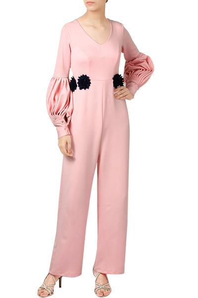 Jumpsuits, Clothing, Carma, Pastel Pink Jumpsuit With Floral Motifs ,  ,  ,