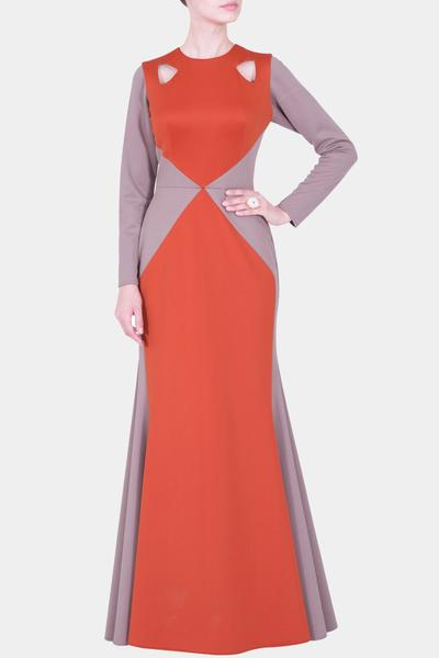 Gowns, Clothing, Carma, Rust and grey cut out gown ,  ,