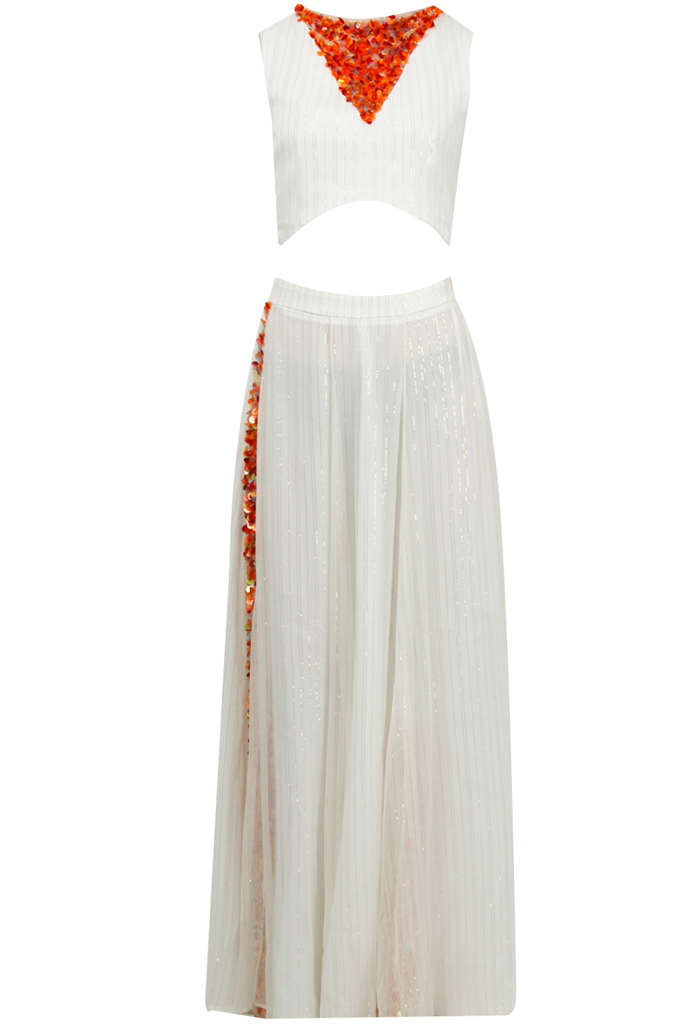 9e4c96cbad6 White and orange embroidered skirt and top set by Riddhi & Revika |  Carmaonline shop