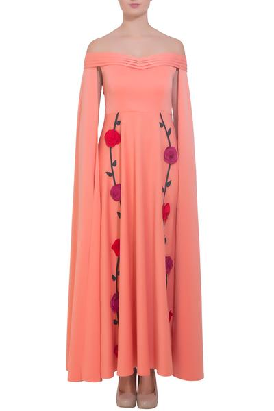 Gowns, Clothing, Carma, Pink cape gown with multi color floral motifs ,  ,  ,