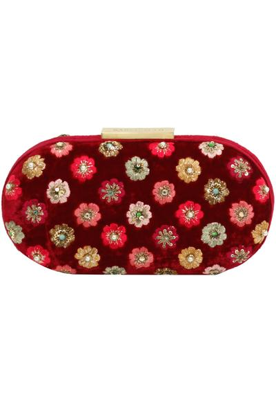 Bags & Clutches, Accessories, Carma, Maroon hand embroidered capsule clutch ,  ,  ,