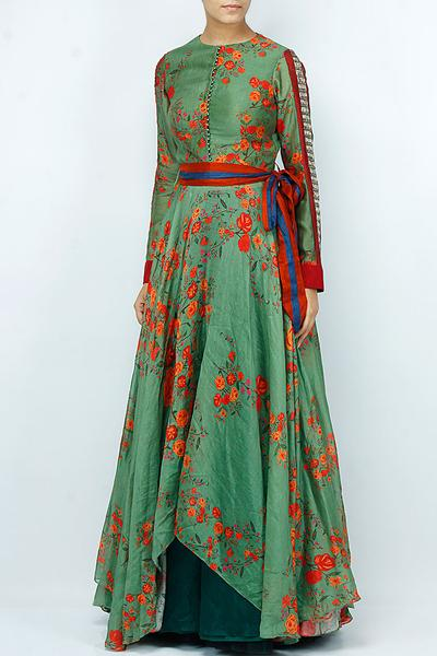 Suits, Clothing, Carma, Sea green floral print anarkali with teal lehenga skirt ,