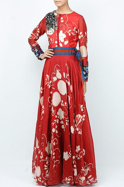 Gowns, Clothing, Carma, Red printed long dress with attached belt ,