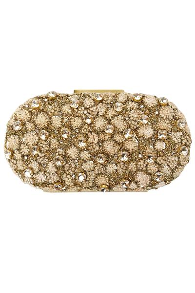 Bags & Clutches, Accessories, Carma, Gold fully embroidered floral crystal clutch ,  ,  ,