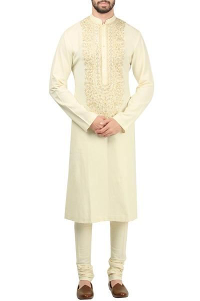 Kurta/Kurta Sets, Men's, Carma, Ivory Hand Embroidered Kurta With Churidaar ,  ,  ,