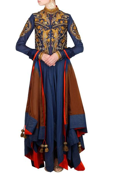 Suits, Clothing, Carma, Navy blue embroidered asymmetrical hem kurta dress with ombre dupatta ,  ,