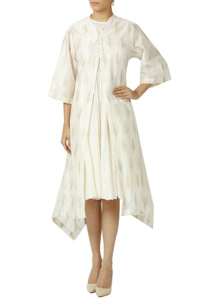 Dresses, Clothing, Carma, Ivory Printed Kurta Jacket With Flared Inner ,  ,  ,