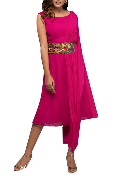 Dresses, Clothing, Carma, Pink Hand Embroidered Draped Dress ,  ,