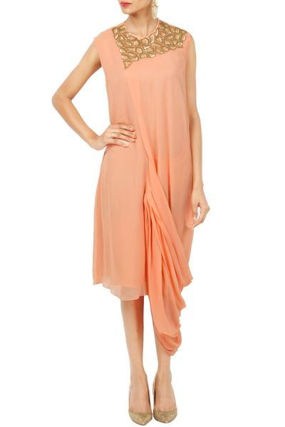 Dresses, Clothing, Carma, Peach embellished draped dress ,  ,  ,