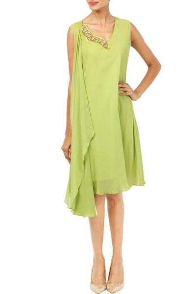 Dresses, Clothing, Carma, Pastel green embellished draped dress ,  ,  ,