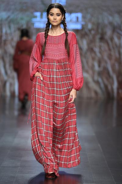 Dresses, Clothing, Carma, Red Check Pattern Maxi Dress ,  ,