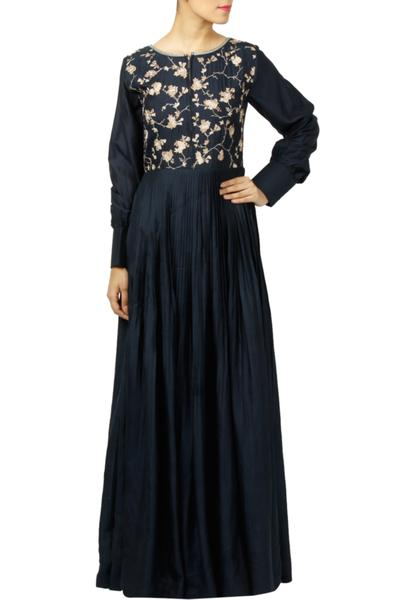 Dresses, Clothing, Carma, Navy Embroidered Pleated Maxi Dress ,  ,  ,