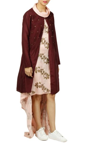 Dresses, Clothing, Carma, Blush Pink Printed Dress With Jackets ,  ,  ,