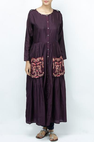 Dresses, Clothing, Carma, Purple shirt style midi dress ,  ,