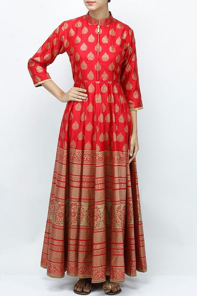 Dresses, Clothing, Carma, Red printed maxi dress with gold bottom ,  ,  ,