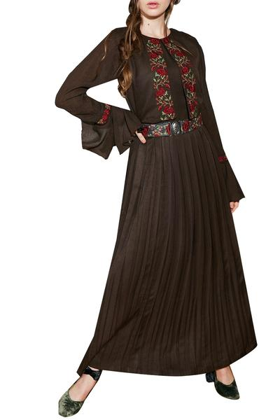 Dresses, Clothing, Carma, Brown Embroidered Cape Dress ,  ,