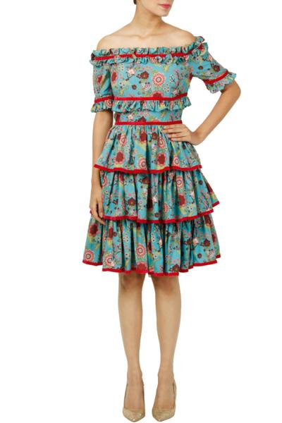 Dresses, Clothing, Carma, Blue of print off shoulder frill dress ,