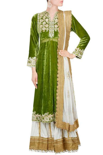 Suits, Clothing, Carma, Olive green and ivory floral gota embroidered sharara set ,