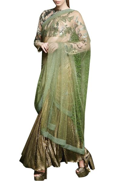 Sarees, Sarees, Clothing, Carma, Bronze and peppermint saree with embellished blouse ,  ,