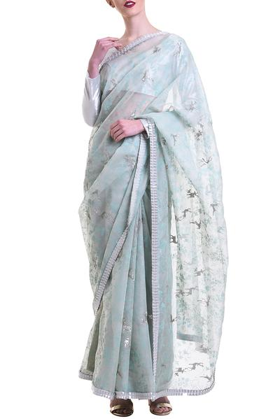 Sarees, Sarees, Clothing, Carma, Teal & Ivory Organza Printed & Embroidered Saree ,  ,  ,