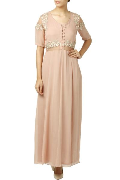 Dresses, Clothing, Carma, Dusty Pink Thread Embroidered Maxi Dress ,  ,  ,