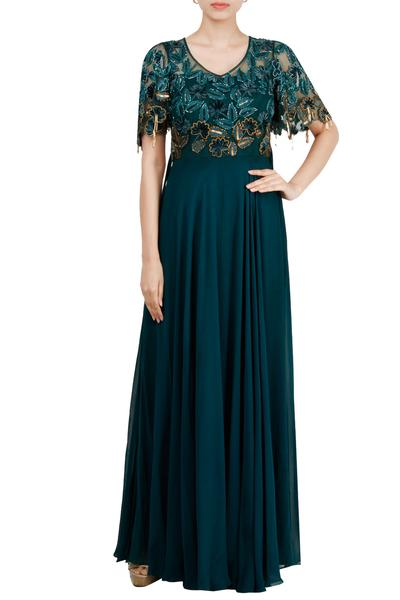 Gowns, Clothing, Carma, Teal green embroidered gown ,  ,