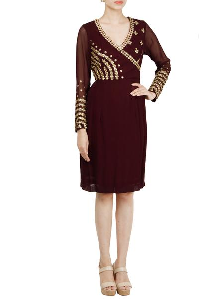 Dresses, Clothing, Carma, Wine embellished wrap dress ,  ,