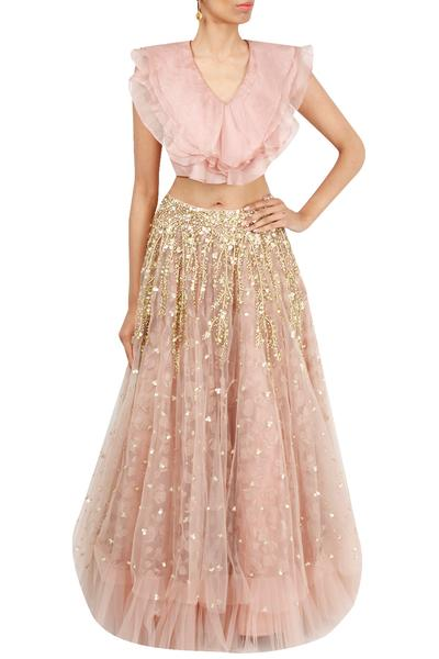 Lehengas, Clothing, Carma, Blush pink ruffle top and lehenga ,  ,